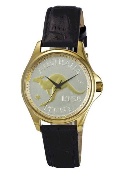 Gold and Silver Australian Kangaroo Penny Men's or Women's Coin watch