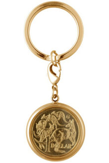 Gold Australian 1 Dollar Coin Men's or Ladies' keyring