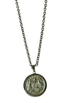 Silver Australian Sixpence Women's  Coin Pendant Necklace