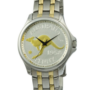 Gold and Silver Australian Kangaroo Penny Men's Coin watch