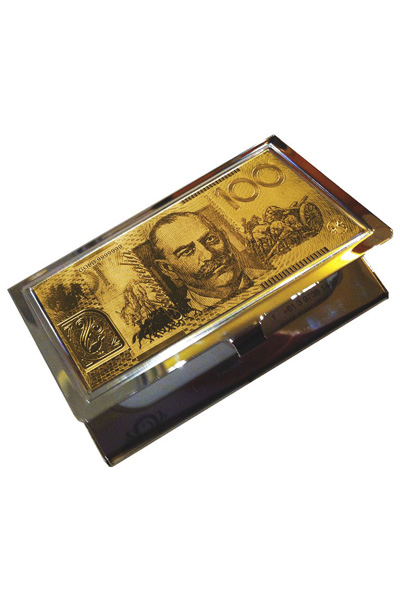 24 carat gold on stainless steel australian 100 note mens or 24 carat gold on stainless steel australian 100 note mens or ladies business card holder colourmoves