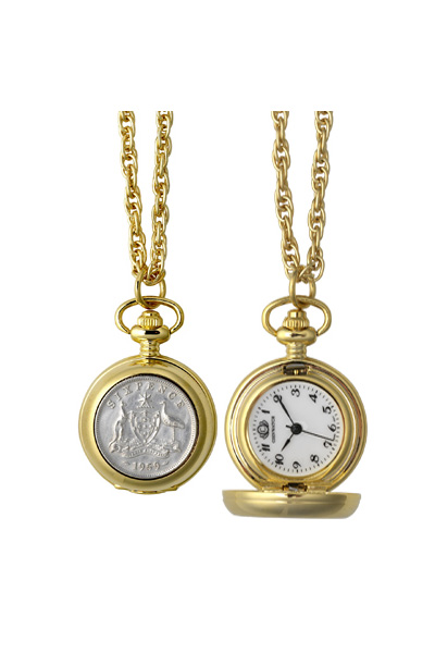 Women's Australian Sixpence pendant watch